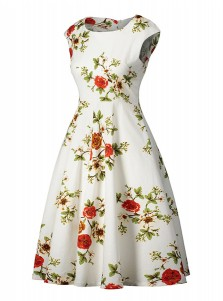 Floral Round Neck Cap Sleeves Plus Size Vintage Dress