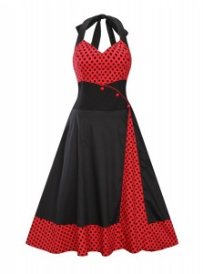 Polka Dots Patchwork Halter Plus Size Black Vintage Dress