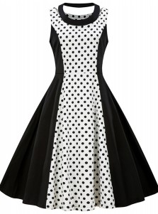 Polka Dots Patchwork Round Neck Black and White Vintage Dress