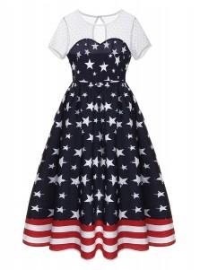 Keyhole Back Star Striped Patriotic Vintage Dress