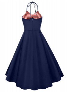 Halter Striped July of 4th Patriotic Vintage Dress