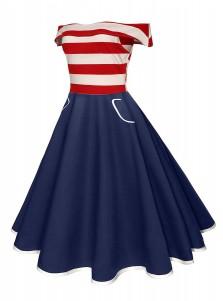 Striped Pockets 4th of July Patriotic Vintage Dress