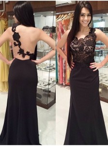 Black Mermaid Lace Prom Dress Party Dress - Tulle Illusion Back with Lace Applique