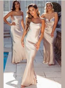 Mermaid Satin Sleeveless Spaghetti Straps Long Bridesmaid Dress With Criss-Cross Straps