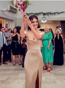 Champagne Sheath Sleeveless Off-the-Shoulder Long Bridesmaid Dress With Split