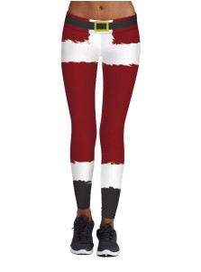 Dark Red Stretch Full Length Fleece 3D Printed Christmas Leggings