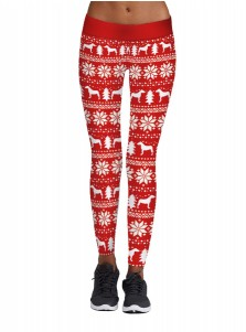 Red Stretch Full Length 3D Printed Snowflake Christmas Legging