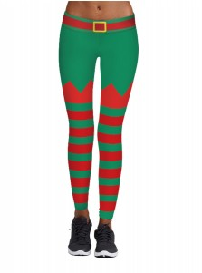 Green Stretch Full Length 3D Printed Striped Christmas Legging