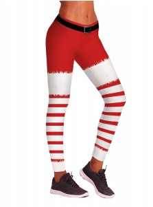 Red Stretch Full Length 3D Printed Striped Christmas Legging