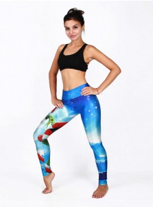 Multi Color 3D Printed Santa Christmas Women's Spandex Legging
