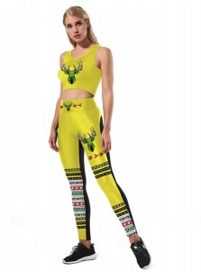 Yellow 3D Printed Reindeer Christmas Women's Spandex Legging Set