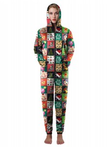 Multi Color 3D Printed Ornament Womens Christmas Pajama Set
