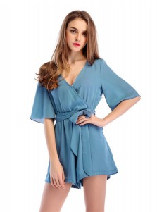 Deep V-Neck Short Sleeves Blue Romper Shorts