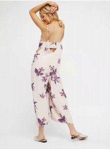 Deep V-Neck Backless Floral Wide Leg Jumpsuit