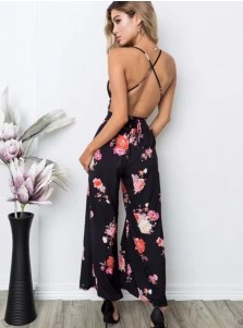 Black Deep V-Neck Floral Backless Dressy Jumpsuit
