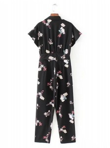 Collar Short Sleeves Floral Romper Pants