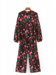 V-Neck Long Sleeves Floral Wide Leg Jumpsuit