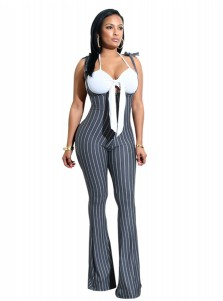 Scoop Neck Bowknot Stripe Grey Backless Jumpsuit Pants