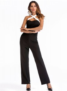 Straps Solid Backless Black Jumpsuit Pants