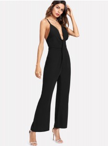 Deep V-Neck Backless Black Wide Leg Jumpsuit