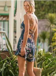 Scoop Neck Backless Floral Dressy Romper