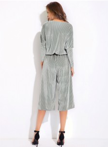 V-Neck Long Sleeves Pleated Silver Cropped Jumpsuit