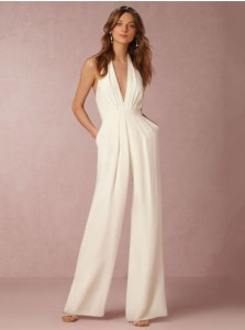 Halter Backless Pockets Formal White Jumpsuit