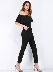 Off the Shoulder Pockets Black Formal Jumpsuit