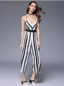 Deep V-Neck Backless Stripe Black and White Jumpsuit