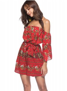 Off the Shoulder Flare Sleeves Floral Red Jumpsuit