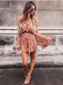 Flare Sleeves V-Neck Floral Dressy Romper