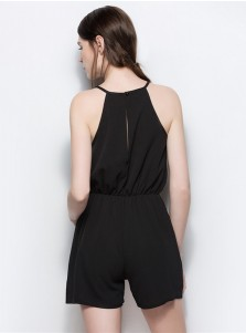 Round Neck Lace Patchwork Black Jumpsuit