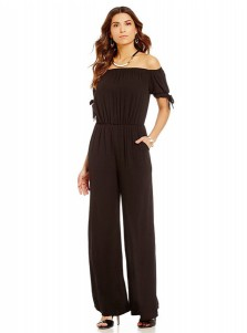 Off the Shoulder Short Sleeves Pockets Brown Jumpsuit
