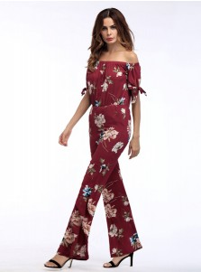 Off the Shoulder Floral Burgundy Wide Leg Jumpsuit