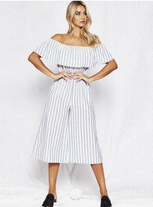 Off the Shoulder Pockets Stripe Grey Wide Leg Jumpsuit