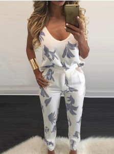Scoop Neck Pockets Backless White Jumpsuit Pants
