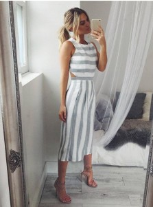 Round Neck Open Back Stripe Wide Leg Jumpsuit