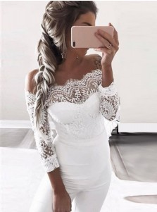 Off the Shoulder Lace Patchwork White Formal Jumpsuit Bridesmaid