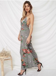Plunge V-Neck Backless Floral Striped Jumpsuit