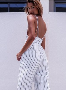 Plunge V-Neck Pockets Backless Striped Cropped Jumpsuit