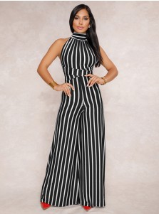 Halter Backless Striped Black and White Wide Leg Jumpsuit