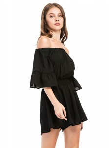 Off the Shoulder Half Sleeves Black Romper