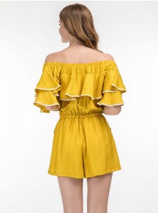 Off the Shoulder Tie Waist Ruffles Yellow Jumpsuit