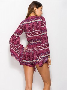 Plunge V-Neck Print Flare Sleeves Purple Rompers