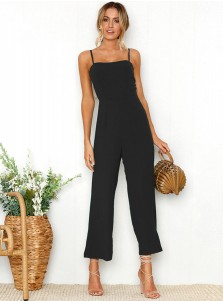 Straps Solid Backless Black Cropped Jumpsuit