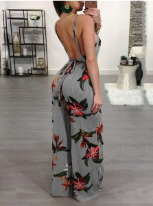 Straps Backless Floral Striped Grey Jumpsuit