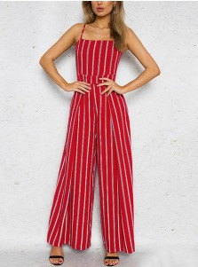 Straps Open Back Bow Striped Red Cropped Jumpsuit