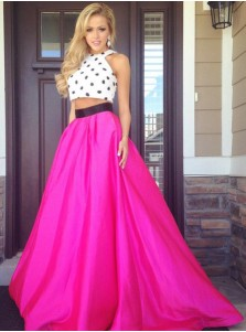 Two Piece Prom Dress - A-line Crew Polk Dots Long Dress