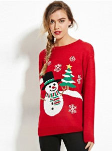 Red Crew Neck Long Sleeves Snowman Christmas Sweaters for Women