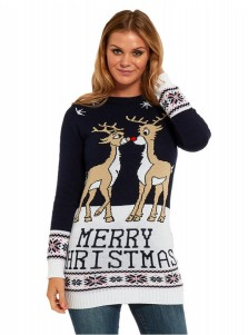 Black Crew Neck Long Sleeves Reindeer Printed Ugly Christmas Sweaters